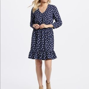 Draper James Floral Peasant dress v neck ruffle
